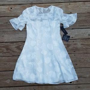 NEW Lulus White Lace Flutter Sleeve Mini Dress
